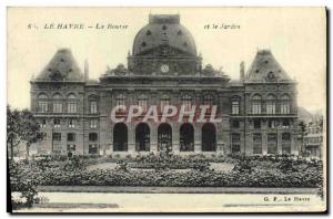 Old Postcard Le Havre Stock Exchange and the Garden