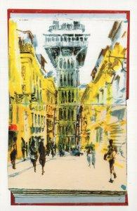 Elevador De Santa Justa Lisboa Portugal Stunning Artist Painting Postcard