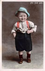His first pair of suspenders Child, People Photo 1908 indentation in card