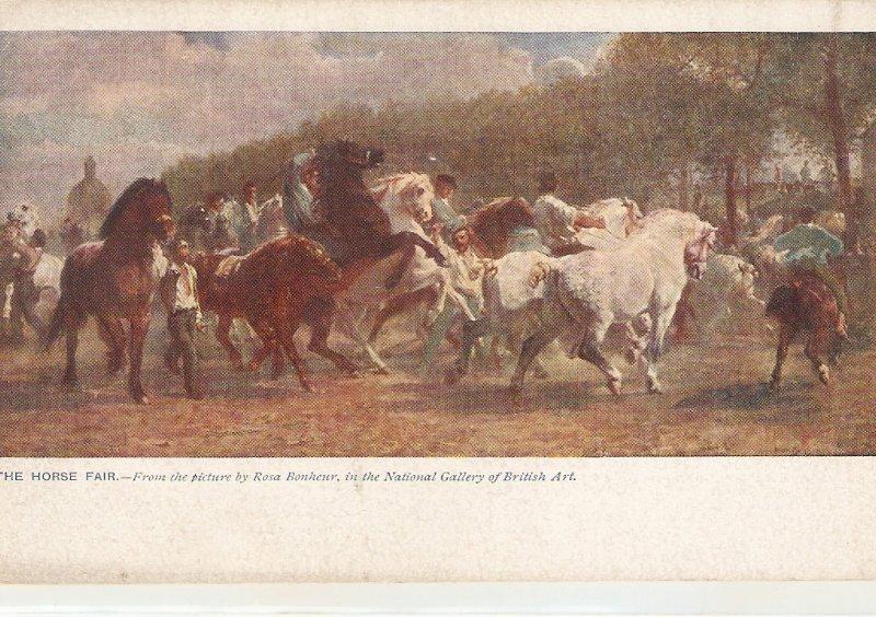 ·Rosa Bonheur. The Horse Fair Fine painting, vintage English postcar