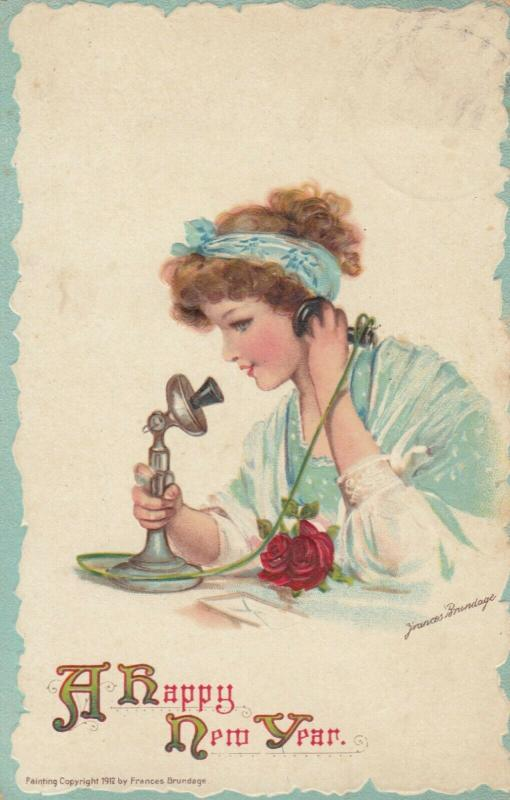 AS; Frances Brundage, 1900-10s; NEW YEAR, Young Lady talking on the phone