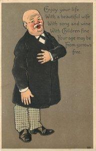 Older Gent~Black Coat~Checked Pants~Enjoy Your Life~Wife~Children~Emboss~Germany