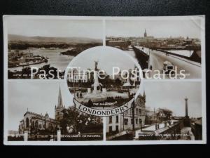 1934 RPPC Londonderry Multiview, Prentice Boys Hall, The Foyle, Craigavon Bridge