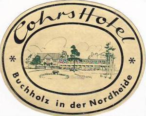 GERMANY BUCHHOLZ COHRS HOTEL VINTAGE LUGGAGE LABEL