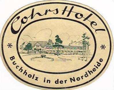 GERMANY BUCHHOLZ COHRS HOTEL VINTAGE LUGGAGE LABEL