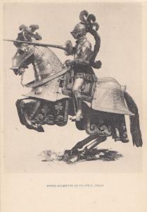 Philip Felipe King Of Spain Portugal II III Armour Mounted Horse Postcard
