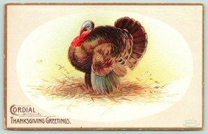 Ellen H Clapsaddle Thanksgiving~Turkey in Oval~Straw & Hay~Embossed~Gold Border