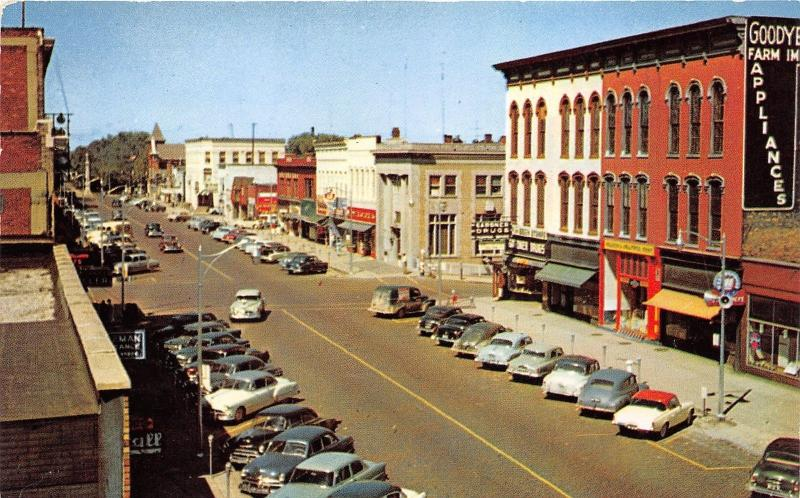 Hastings Michigan~State Street~Downtown Shopping Distric~Storefronts~50s Cars