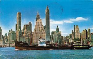 US N.Y. Skyline of Manhattan, Brooklyn shore, Tydol Gasoline Ship 1962
