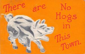Comic Pig: There Are No Hogs in This Town~White & Gray Embossed~Orange Back~1910