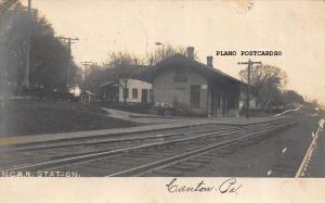 CANTON, PENNSYLVANIA N.C.R.R STATION RPPC REAL PHOTO POSTCARD