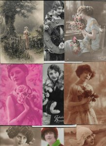 Artist Signed Art Nouveau Woman Lot of 20 Postcards 01.08