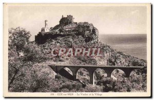 Old Postcard Eze Sur Mer The Vladuc and the Village