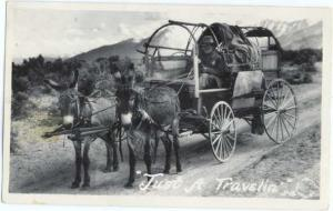 RP 'Just A Travelin' Donkey or Mule Wagon Frasher Photo 1955