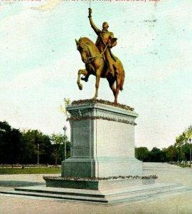 Vtg Postcard 1907 UDB Washington Statue, washington Park Chicago, Illinois