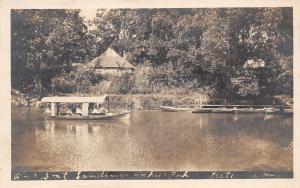 Crete Nebraska~Tuxedo Park?~Rowboat Landing~Covered Excursion Boat~ 1915 RPPC