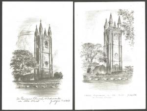 Postcards 4 x Churches Pencil Sketches Series by Judges Ltd