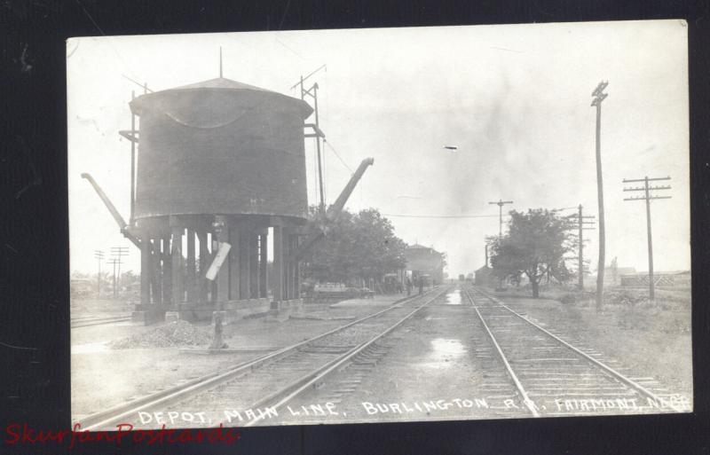 RPPC FAIRMONT NEBRASKA BURLINGTON RAILROAD DEPOT VINTAGE REAL PHOTO POSTCARD