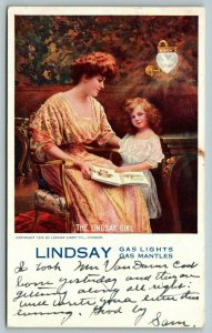 Chicago IL~Lindsay Light Co~Lindsay Girl: Victorian Mother Daughter~1910 Adv PC