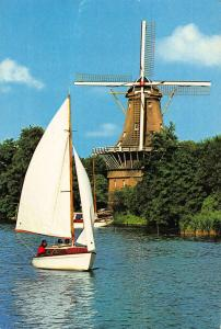 Netherlands Rotterdam Mill De Ster Octangular Thatched Mill with Stage Postcard