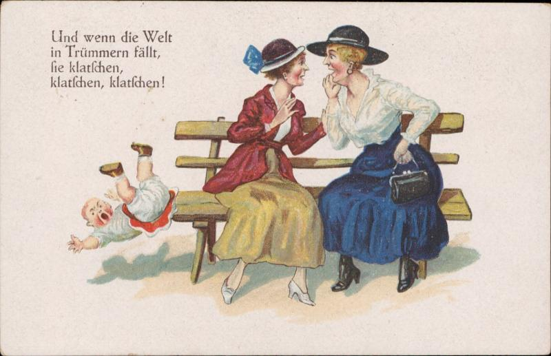 comic women gossi[ child falling accident Welt Trummern Klatfchen chromo litho