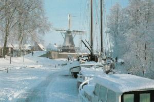 Snowbound in Friesland Holland Boats Frozen in Snow Ice Disaster Postcard