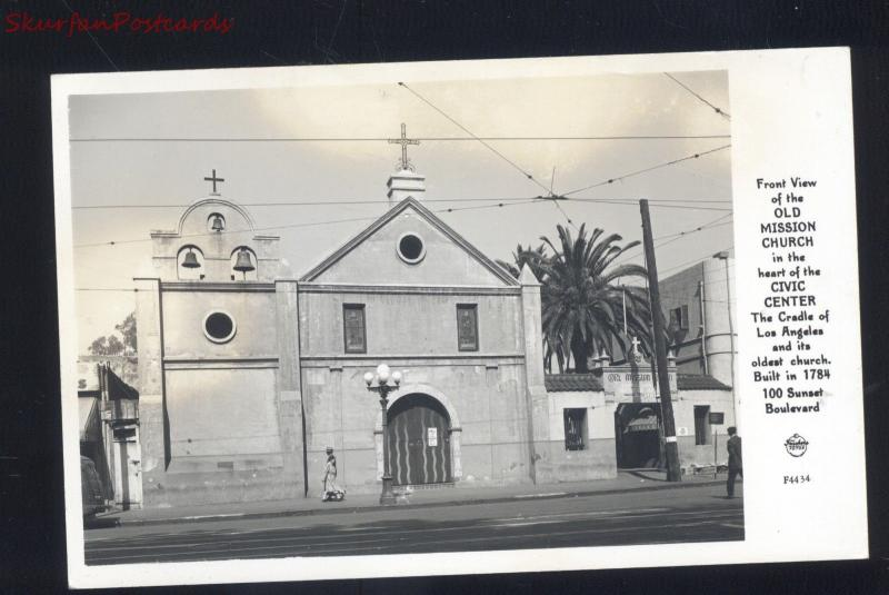 RPPC LOS ANGELES CALIFORNIA OLD MISSION CHURCH VINTAGE REAL PHOTO POSTCARD