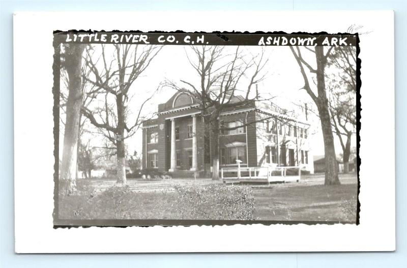 Postcard AR Ashdown Little River County Court House RPPC Real Photo  R61