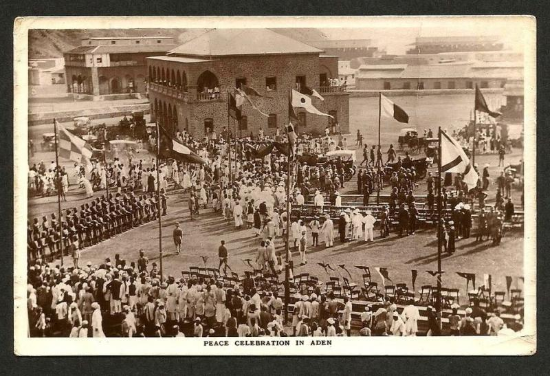 Aden WW1 Peace Celebrations real photo postcard used