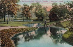 Illinois Chicago Stepping Stones and Lagoon In Washington Park 1915