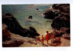 206406 BERMUDA Amid Rocks Vintage photo postcard