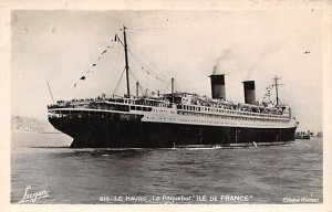 Ile de France French Line Ship Writing on back