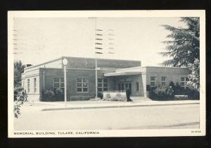 Tulare, California/CA Postcard, Memorial Building, 1950!