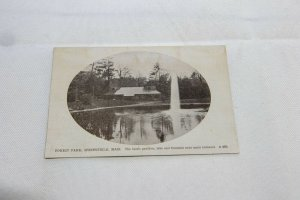1914 Vintage Forest Park, Springfield Photo-Type Postcard The Rustic Pavilian