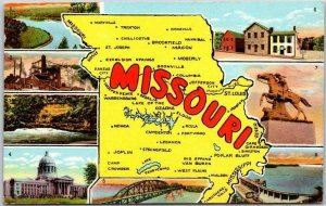 MISSOURI Multi-View Greetings Postcard Map / 8 State Scenes Curteich c1950s