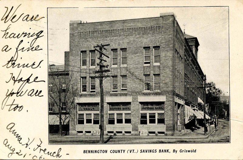 VT - Bennington. Bennington County Savings Bank (Private Mailing Card)