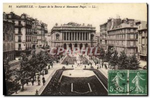 Old Postcard Marseille Square Exchange of Puget Monument