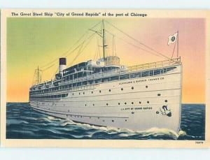 Linen GREAT STEEL SHIP IN THE PORT Chicago Illinois IL hp8398