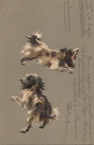 Embossed dogs early 1900s postcard