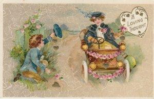 John Winsch 1900-10s , VALENTINE ; Boy , Girl & an automobile