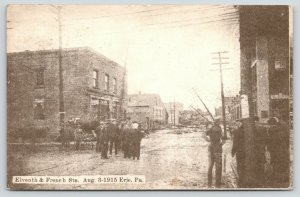 Erie Pennsylvania~11th & French Street~Flood Devastation~Power Lines Down~1915