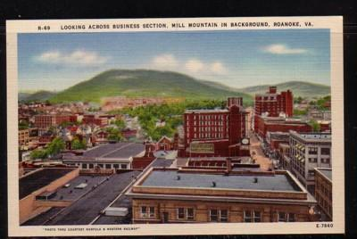 Virginia postcard Roanoke Biz section Mill Mtn