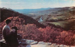 Ozarks MO~A Dog & His Boy~White River Valley From Inspiration Point~1950s