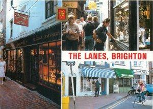 Postcard United Kingdom Great Britain multi view the lanes brighton city bike