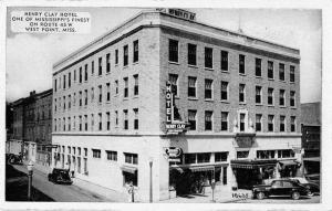 West Point Mississippi birds eye view Henry Clay Hotel antique pc Z23544