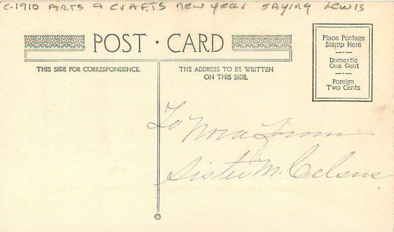 arts crafts new years saying c 1910 postcard 8877