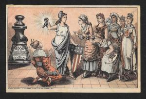 VICTORIAN TRADE CARD Bixby's Royal Polish Columbia w/Ladies