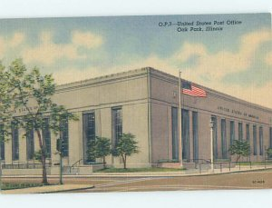 Linen POST OFFICE SCENE Oak Park - Chicago Illinois IL AF0978