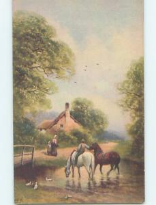 Pre-Linen foreign signed MAN RIDING HORSES WALKING IN THE RIVER HL8333