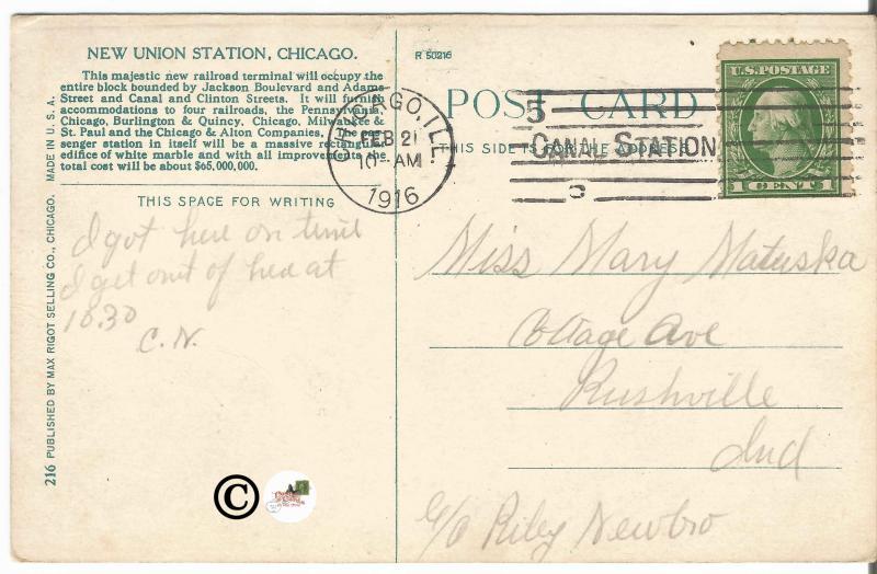 New Union Station Depot Chicago 1916 Vintage Postcard Railroad Train Station